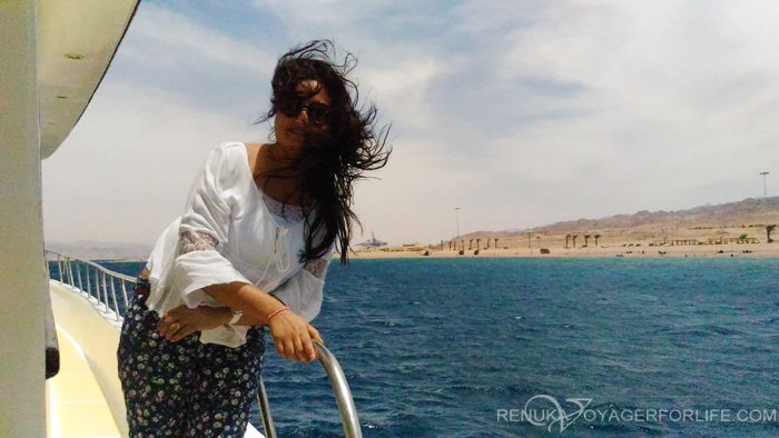 Travel blogger on a cruise
